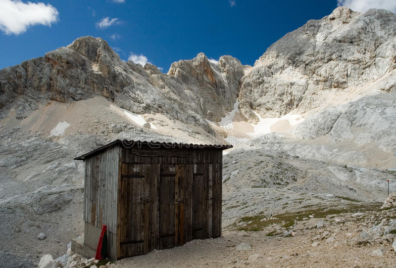 Toilets in the mountains. WC cabins in the Alps mountains. Triglav national park, Slovenia royalty free stock photography