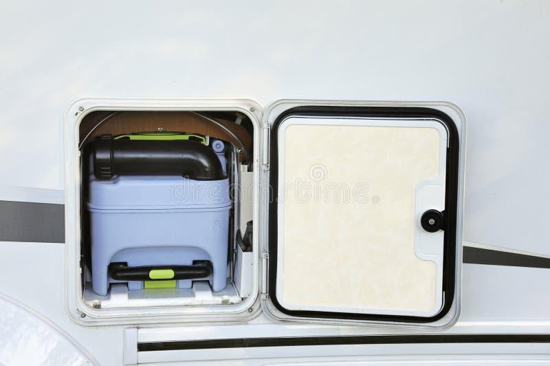 Toilettank in campervan hierboven wordt gezien die van royalty-vrije stock afbeeldingen