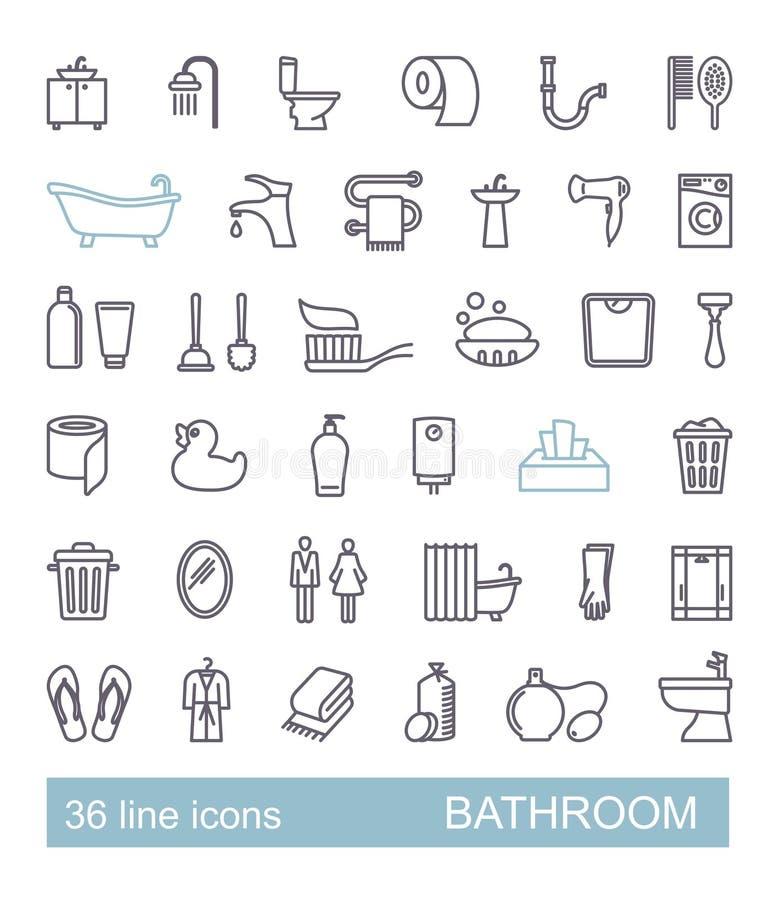 Toilette, Badezimmer, Toilettenbetrug Satz Linie Art vecty vektor abbildung