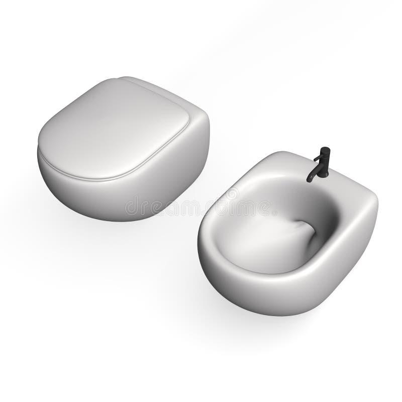 Toilette + Bidet stock abbildung