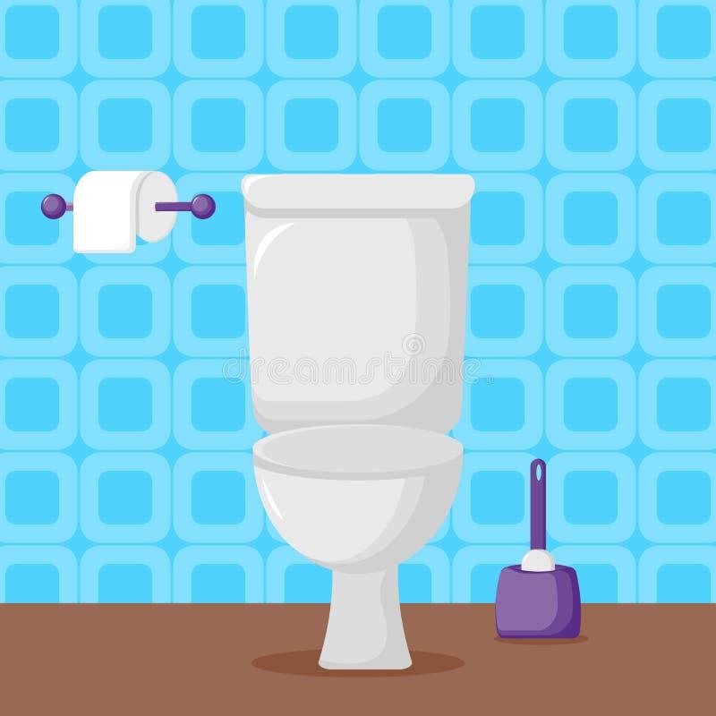 Toilette blanche de c?ramique dans le style plat illustration libre de droits
