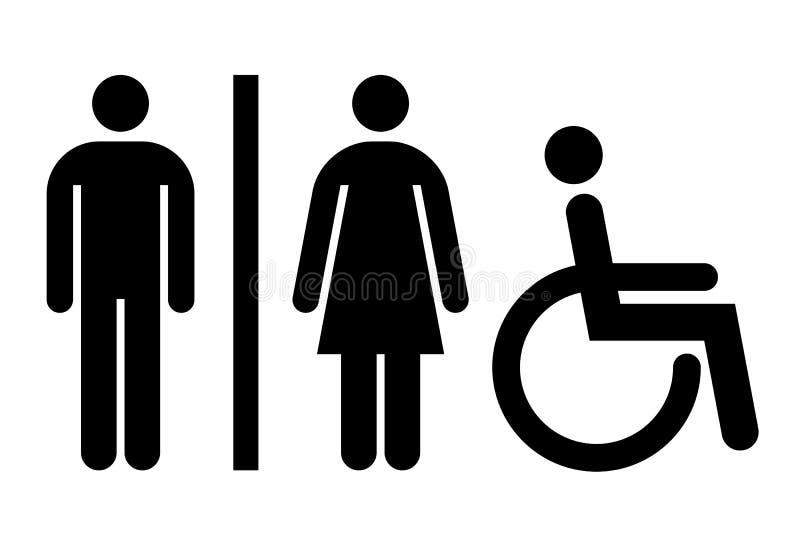 Toilette, carte de travail, signe de toilettes illustration libre de droits