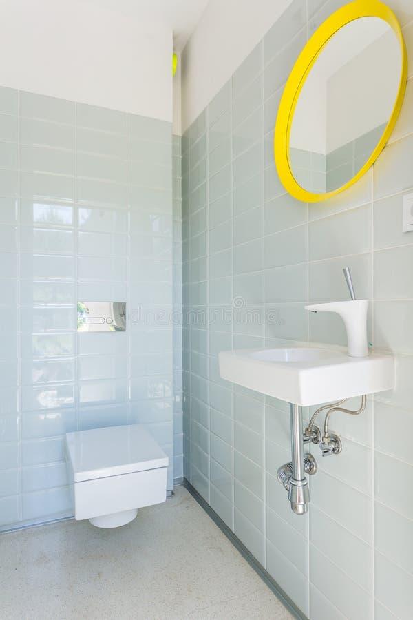 Toilette con il sedile ed il lavandino di toilette fotografia stock libera da diritti