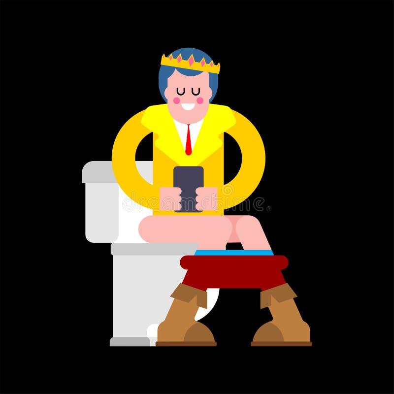 Toilette de prince In Jeunes roi et téléphone dans la carte de travail Calibre pour le desig illustration libre de droits