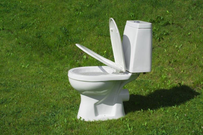 Toilette, die auf dem Rasen steht lizenzfreies stockbild