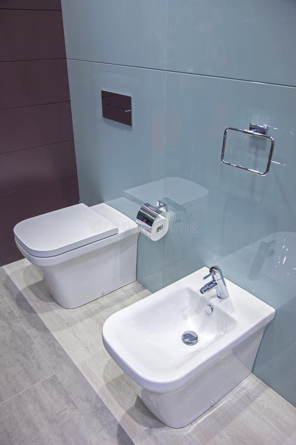 Toilette e bidet nel bagno immagini stock libere da diritti