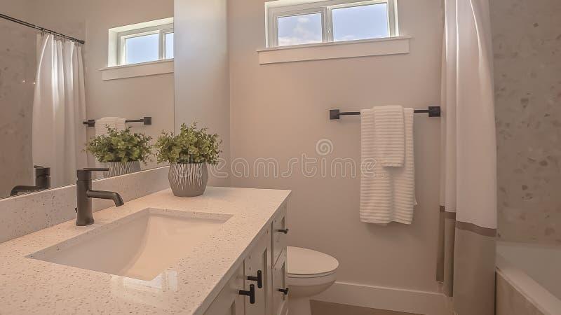 Toilette et vanité de cadre de panorama avec les armoires et l'évier undermounted sur la partie supérieure du comptoir blanche photos libres de droits