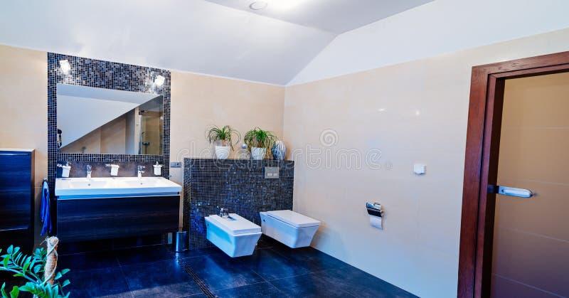 Toilette moderna con il lavandino immagini stock libere da diritti