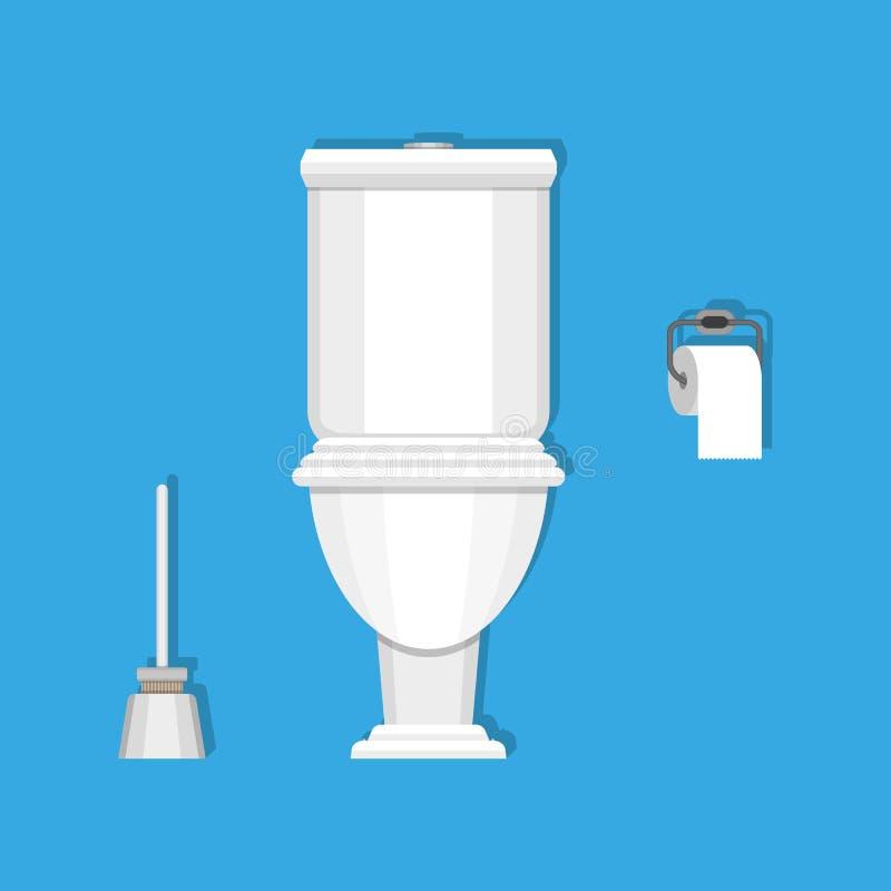 Toilette, papier et brosse illustration stock
