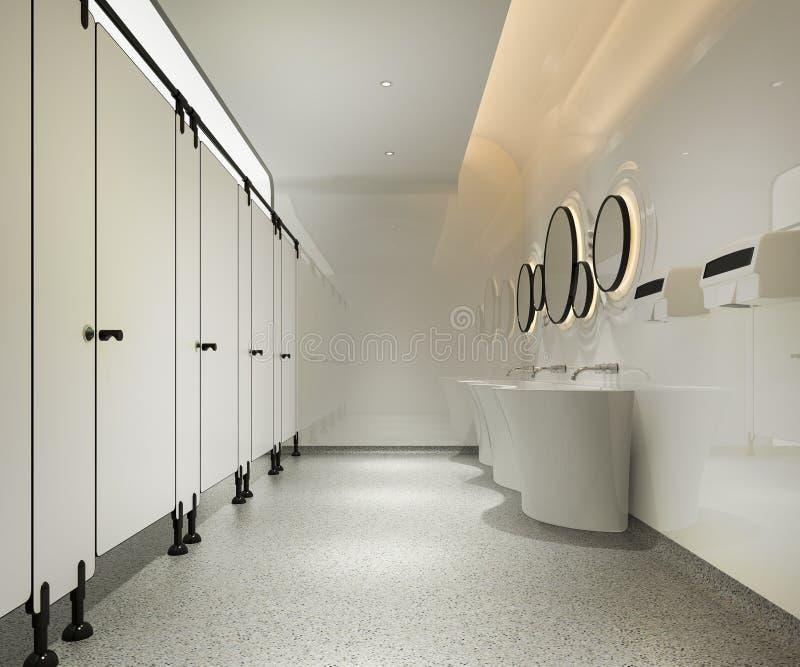 toilette publique en bois du rendu 3d et de tuile moderne illustration stock
