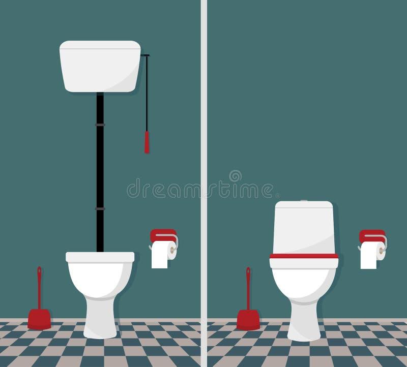 Toilette retro e moderna illustrazione vettoriale