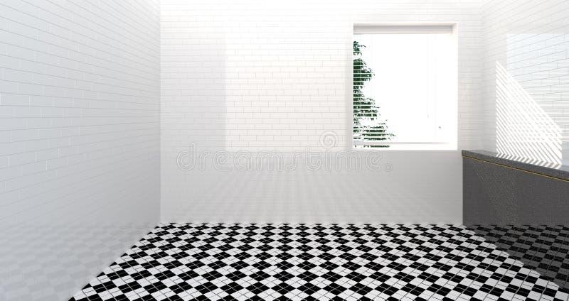Toilette vuota, doccia, interno del bagno, doccia, fondo moderno del lavandino del bagno della parete 3d della stanza della casa  illustrazione vettoriale