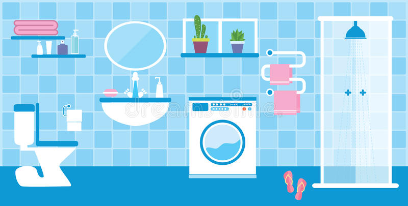 Toiletten- und Badezimmerinnenraum lizenzfreie abbildung