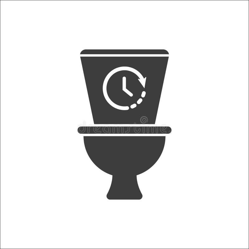 Toilettenikone, Badezimmer, Toilettenikone mit Zeitzeichen Toilettenikone und Count-down, Frist, Zeitplan, Planungssymbol lizenzfreie abbildung
