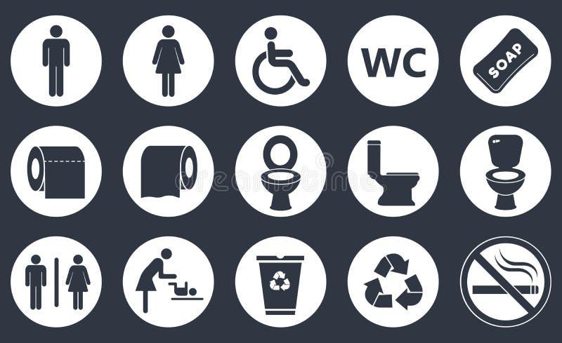 Toilettenikonen eingestellt stock abbildung