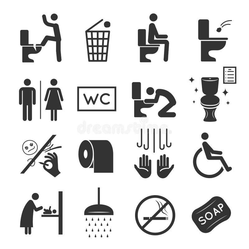 Toilettenikonensatz-, -waschraum- und -badezimmersymbole stock abbildung