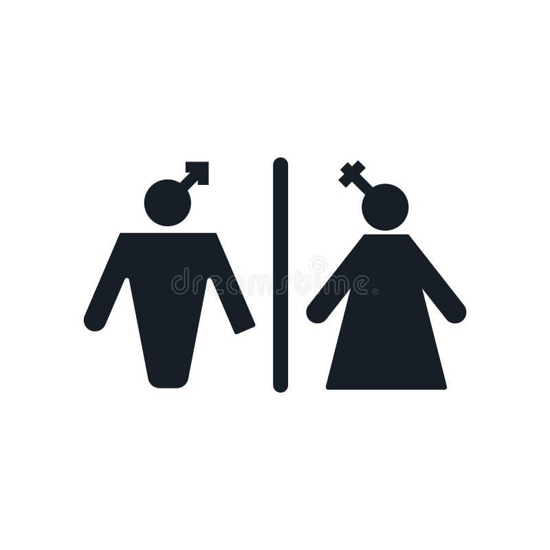 Toilettenikonenvektorzeichen und -symbol lokalisiert auf weißem Hintergrund, Toilettenlogokonzept lizenzfreie abbildung