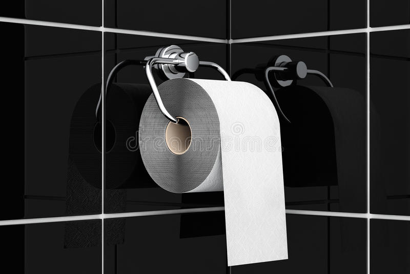 Toilettenpapier auf Chromhalter stockbild