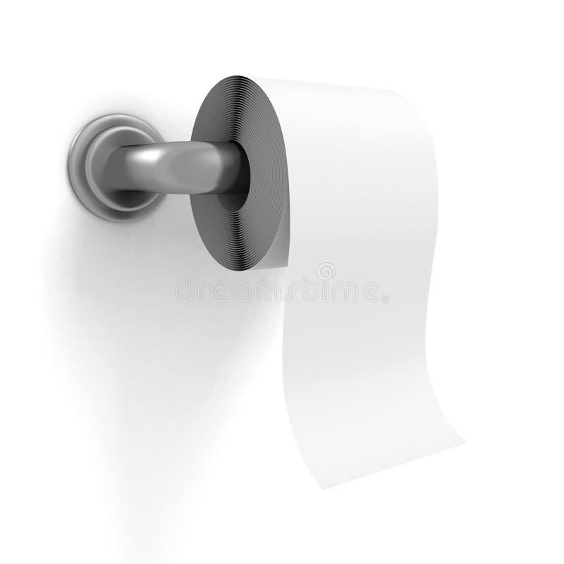 Toilettenpapier auf Chromhalter-Weißwand lizenzfreie abbildung