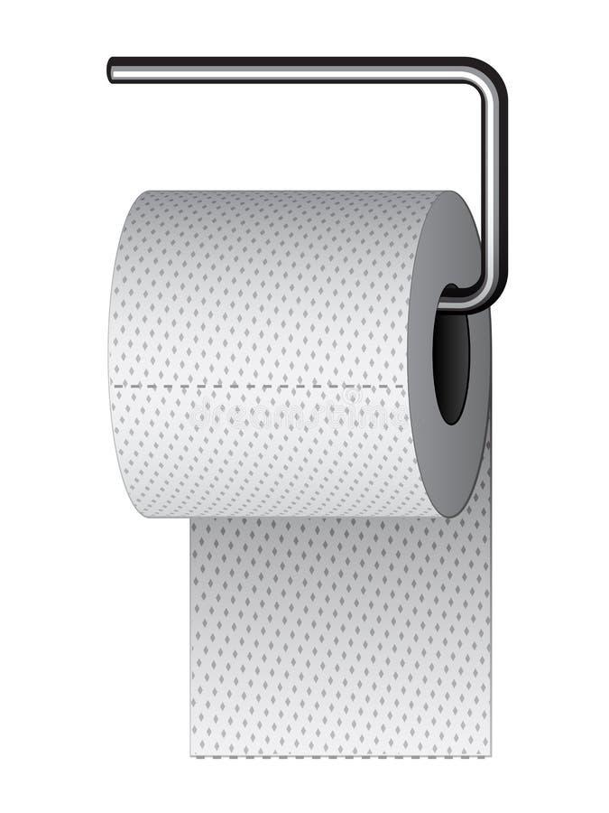 Toilettenpapier auf Chromhalterung lizenzfreie abbildung