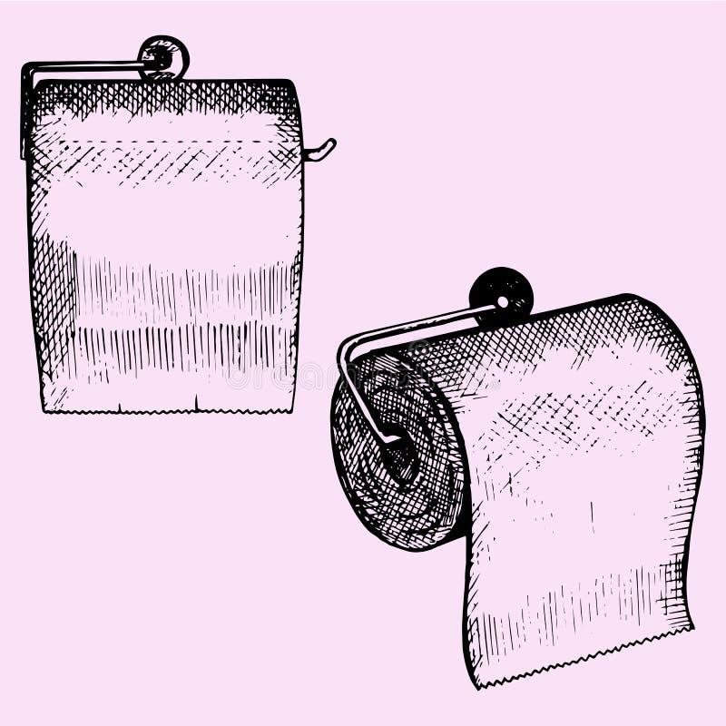 Set Toilettenpapier Auf Einer Wand Des Badezimmers Vektor ...