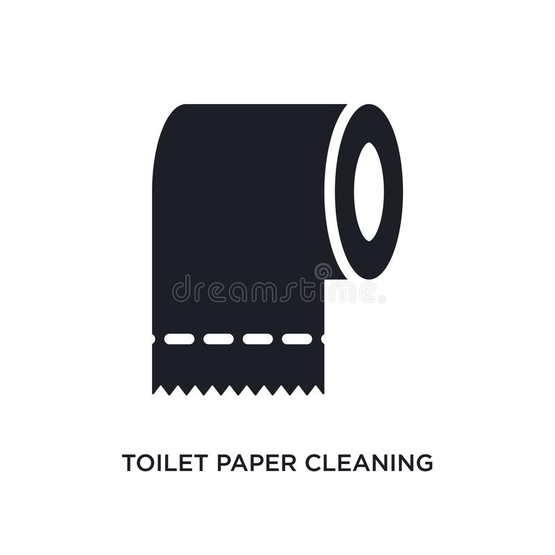 Toilettenpapier, das lokalisierte Ikone säubert einfache Elementillustration von Reinigungskonzeptikonen Toilettenpapier, das edi lizenzfreie abbildung