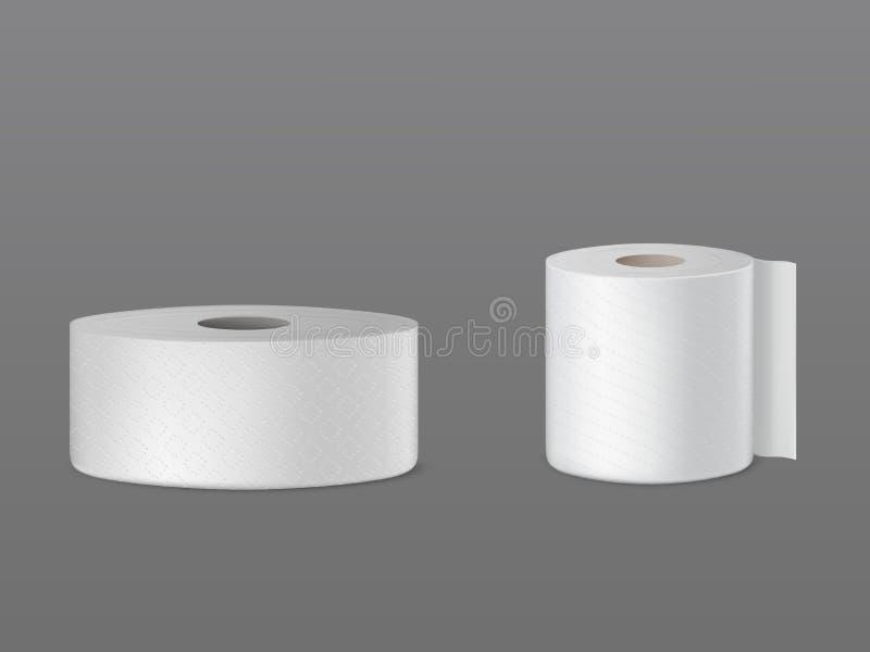 Toilettenpapier, realistischer Vektor des Geschirrtuches 3d lizenzfreie abbildung