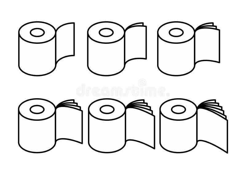 Toilettenpapier rol gesetzte Ikone Sammlung Symbol für das Verpacken Vektor lizenzfreie abbildung