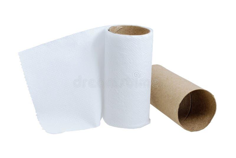 Toilettenpapier wenig übrig geblieben lizenzfreies stockfoto