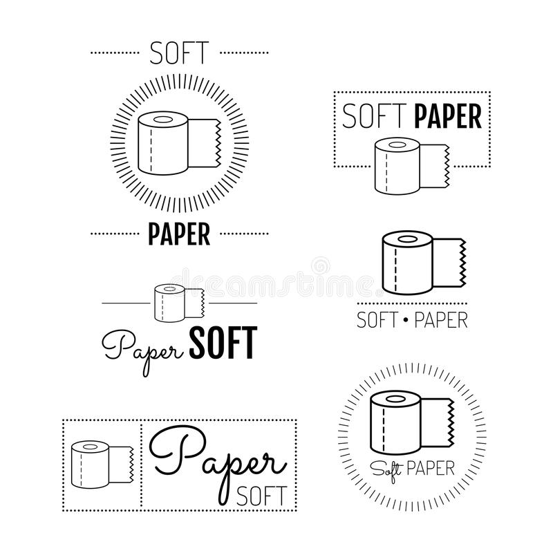 Toilettenpapierikone, Embleme, Aufkleber Set Zeichen stock abbildung