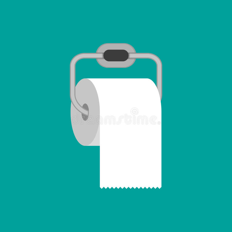 Toilettenpapierrolle mit Metallhalter lizenzfreie abbildung