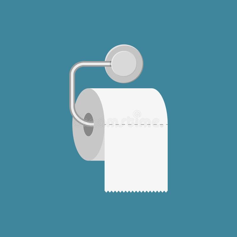 Toilettenpapierrolle mit Metallhalter stock abbildung