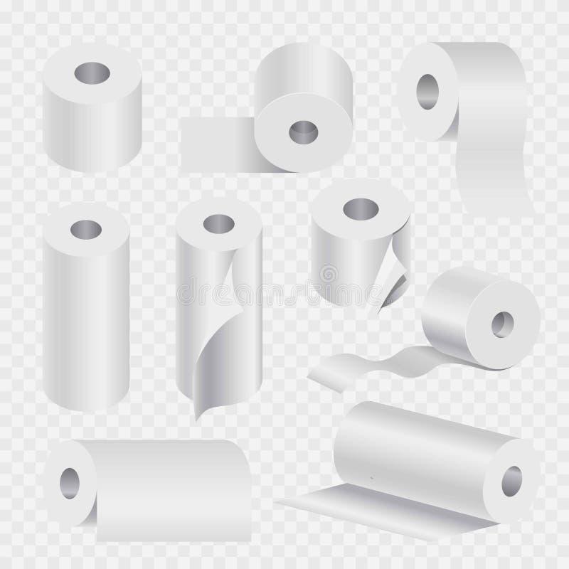 Toilettenpapierrollen- oder -Geschirrtuches3d Vektorikonen eingestellt lizenzfreie abbildung