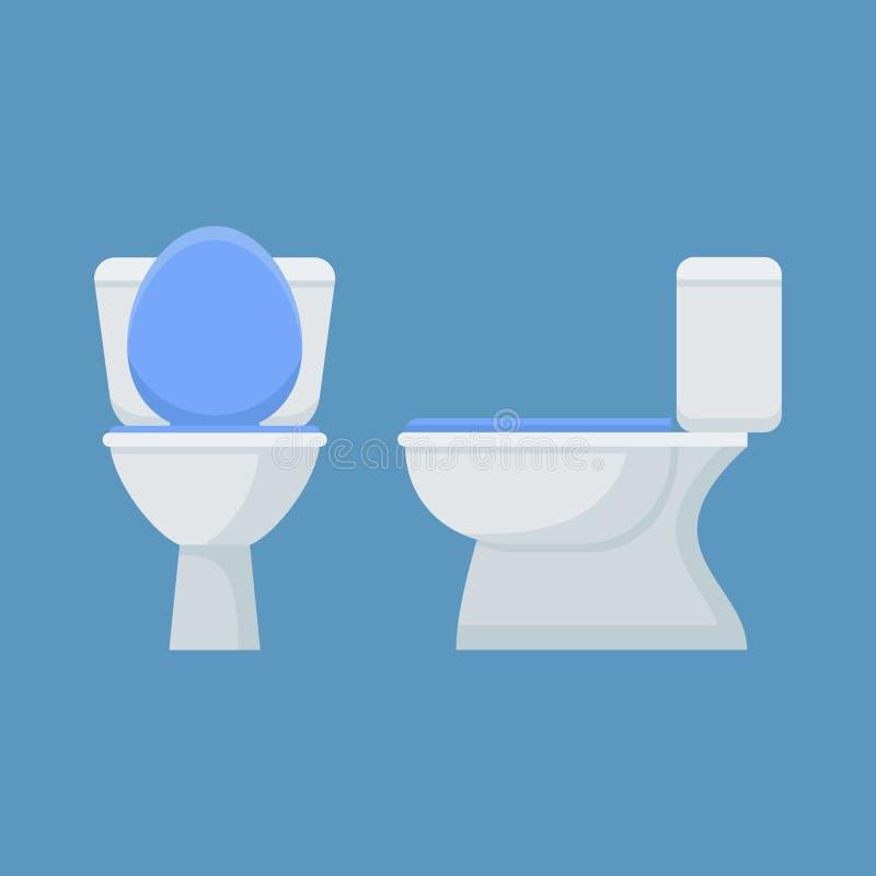 Toilettenschüssel lokalisiert auf blauem Hintergrund Vordere und Seitenansicht Auch im corel abgehobenen Betrag lizenzfreie abbildung