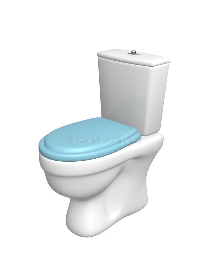 Toilettenschüssel, mit dem geschlossenen Sitz der blauen Farbe stock abbildung