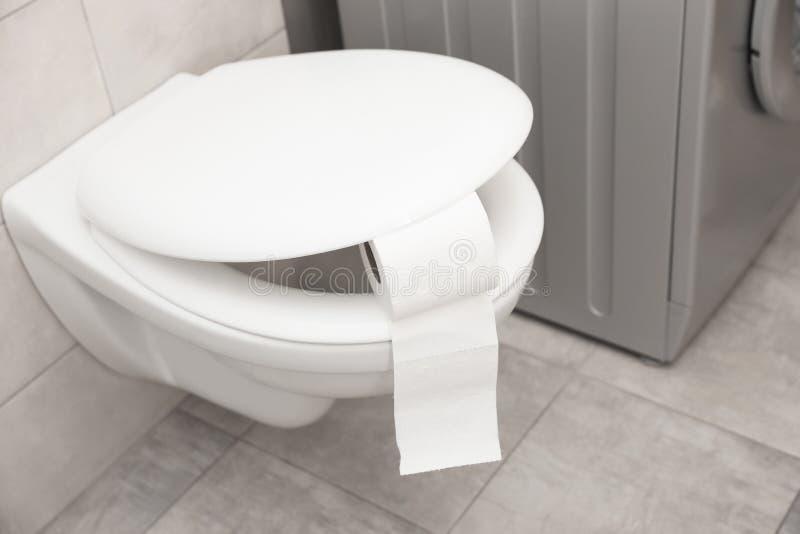 Toilettenschüssel mit Papierrolle stockfotos