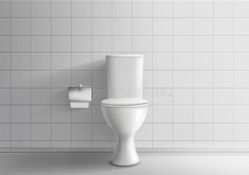 Toilettenschüssel mit realistischem Vektor des Toilettenpapiers stock abbildung