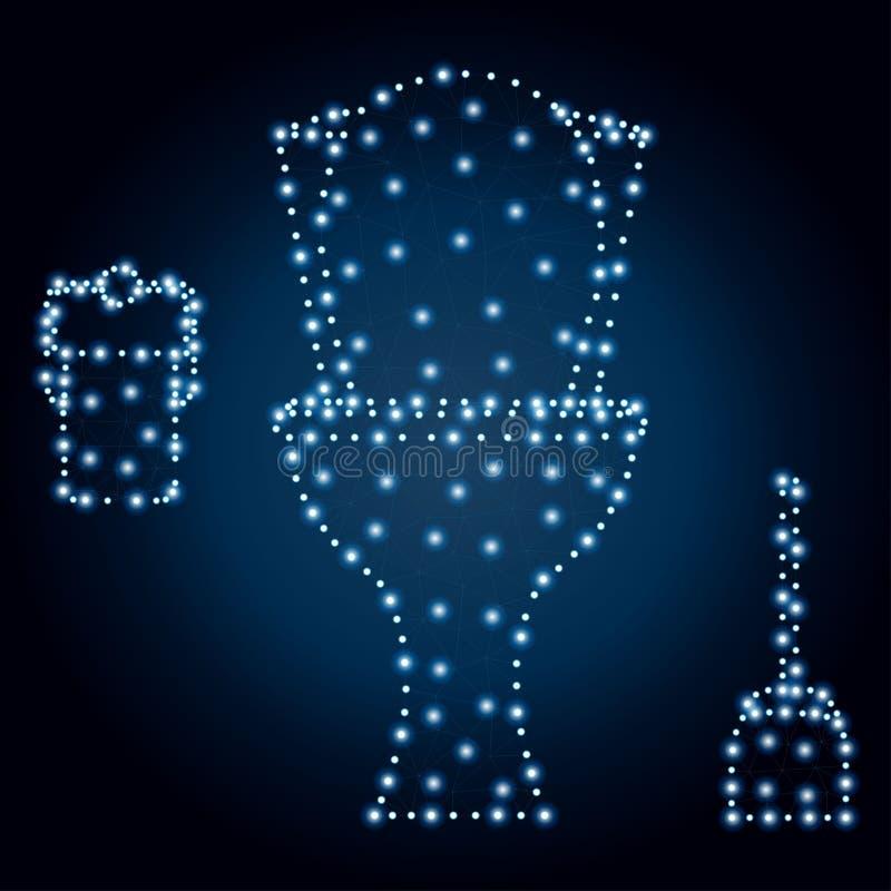 Toilettenschüssel, Polygon, blaue Sterne 3 stock abbildung