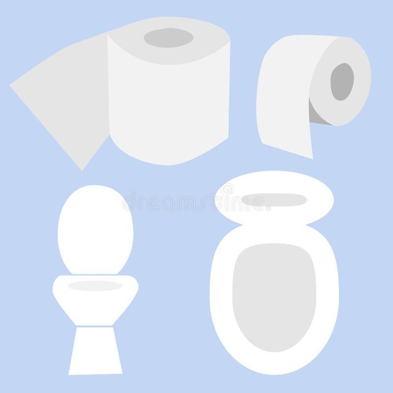 Toilettensch?ssel mit Toilettenpapierrolle Einfache flache Karikatur lizenzfreie abbildung