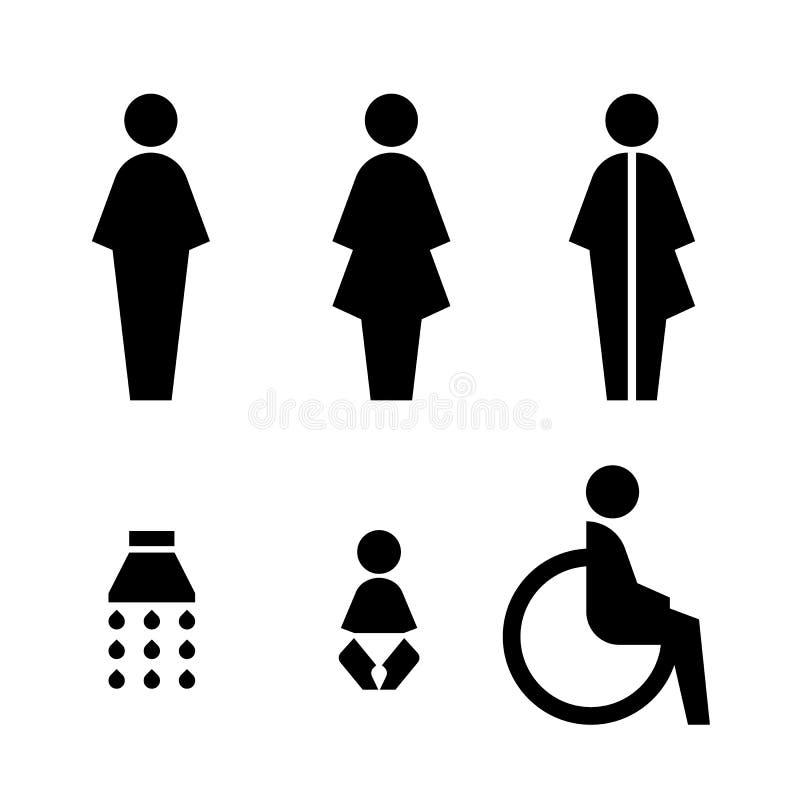 Toilettenzeichen mit Mann, Frau, spezieller Sex, Bad, Babyänderung, behindertes Vektorbühnenbild stock abbildung