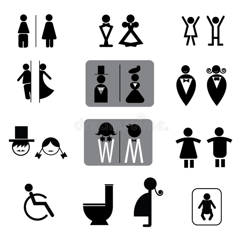 Toilettenzeichen-Vektorsatz lizenzfreie abbildung
