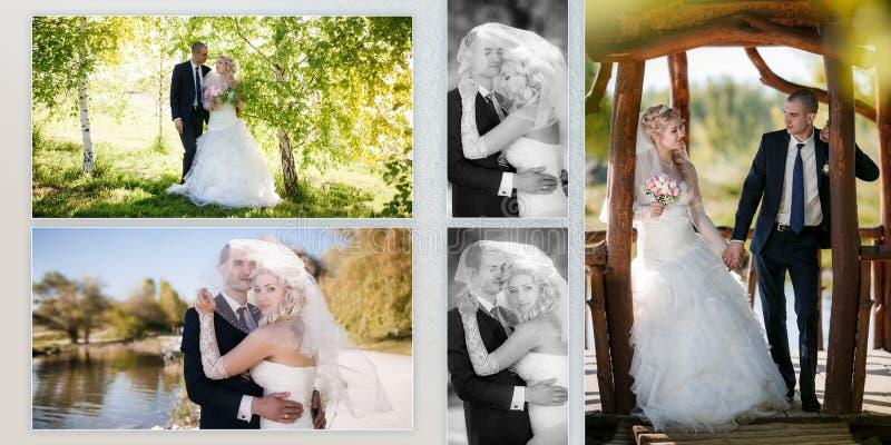 Toilettez et la jeune mariée pendant la promenade dans leur jour du mariage images stock