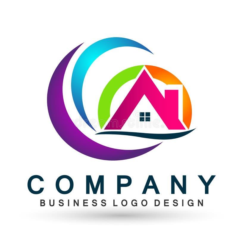 Toit abstrait de Chambre de cercle d'immobiliers et vecteur à la maison de conception d'icône d'élément de vecteur de logo sur le illustration de vecteur