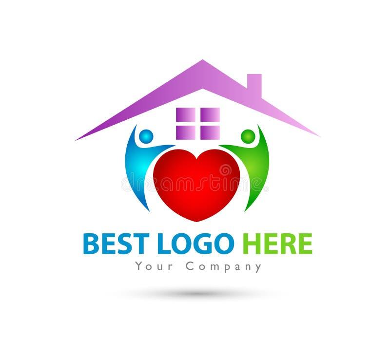 Toit abstrait de Chambre verte de famille de personnes de mains d'immobiliers et logo à la maison illustration de vecteur
