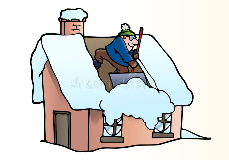 Toit de nettoyage de neige illustration libre de droits