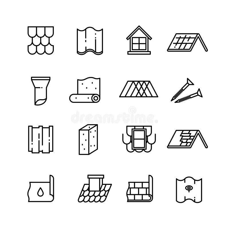 Toit, matériaux de construction de toit, icônes minces de imperméabilisation de vecteur illustration stock