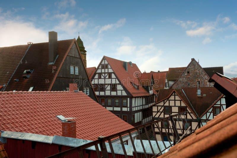 Toits carrelés des maisons à colombage, Allemagne images libres de droits