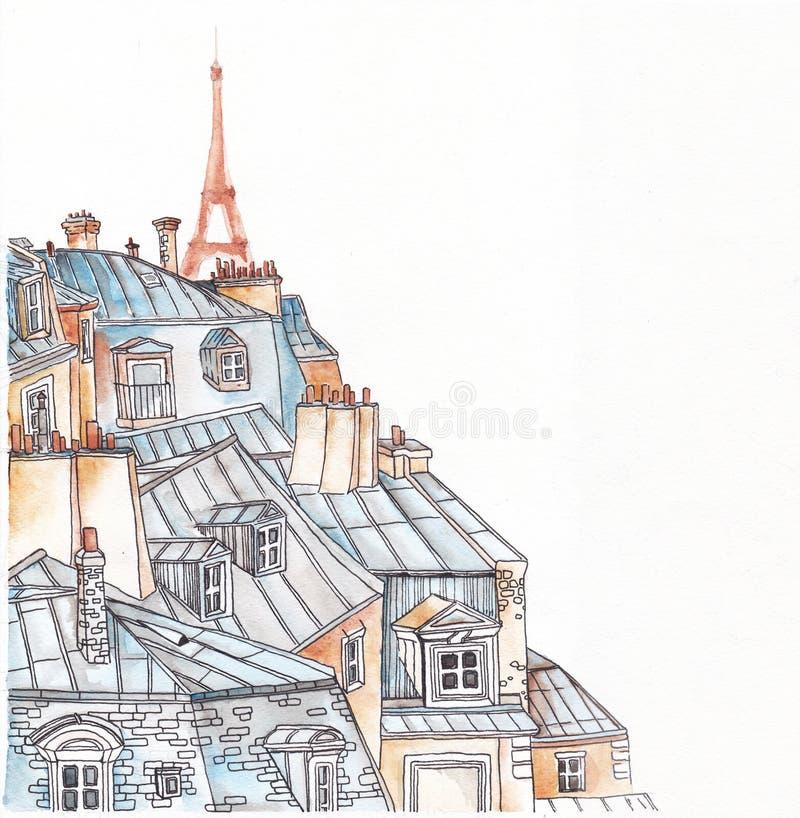 Download Toits de Paris illustration stock. Illustration du drapeau - 76079247