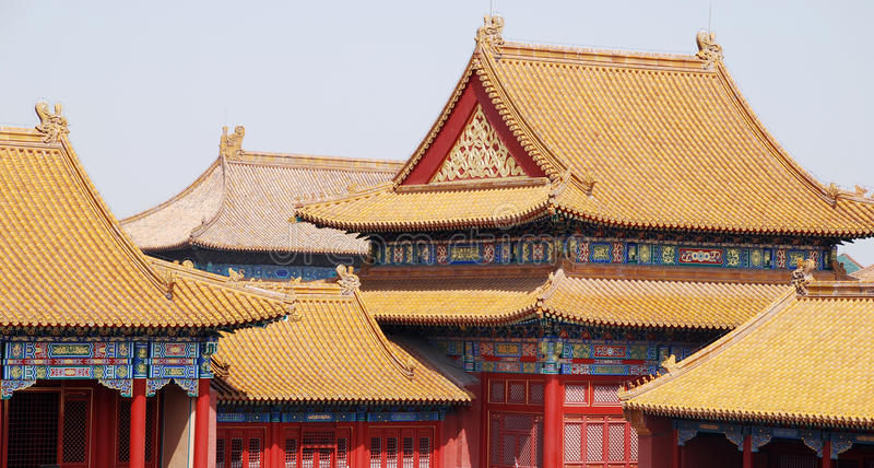 Toits de tuile de ville interdite (Pékin, Chine) image stock