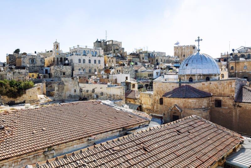Toits des maisons dans la vieille ville à Jérusalem, belle vue photos libres de droits